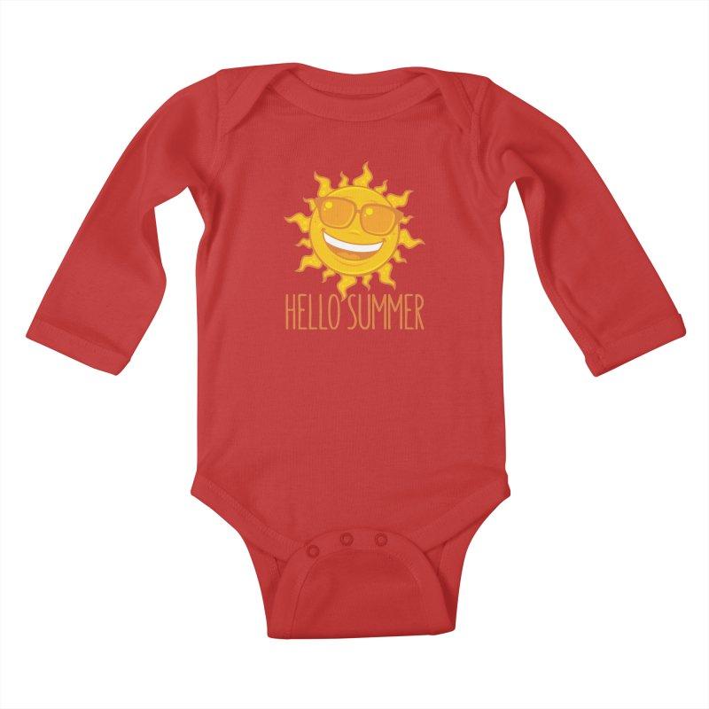 Hello Summer Sun With Sunglasses Kids Baby Longsleeve Bodysuit by Fizzgig's Artist Shop