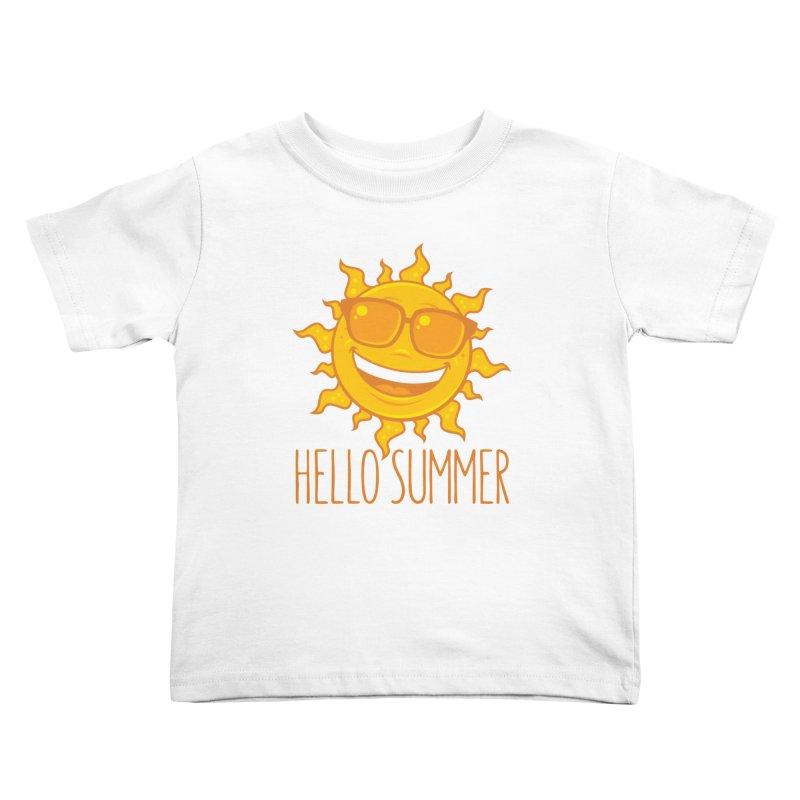 Hello Summer Sun With Sunglasses Kids Toddler T-Shirt by Fizzgig's Artist Shop