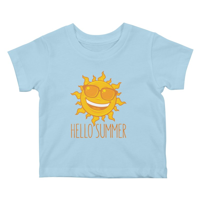 Hello Summer Sun With Sunglasses Kids Baby T-Shirt by Fizzgig's Artist Shop