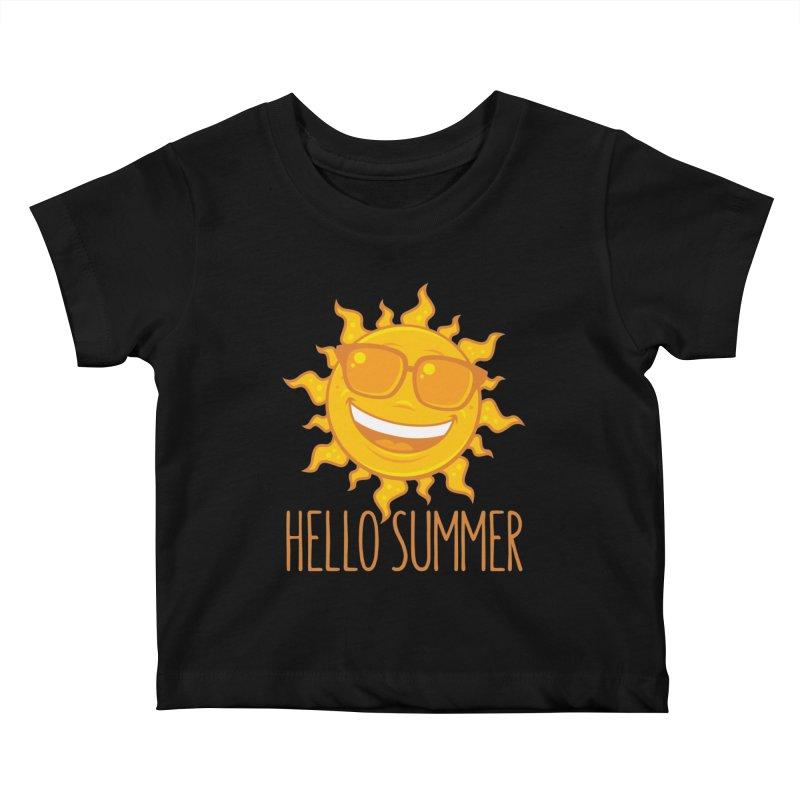 Hello Summer Sun With Sunglasses Kids Baby T-Shirt by Fizzgig's Artist Shop