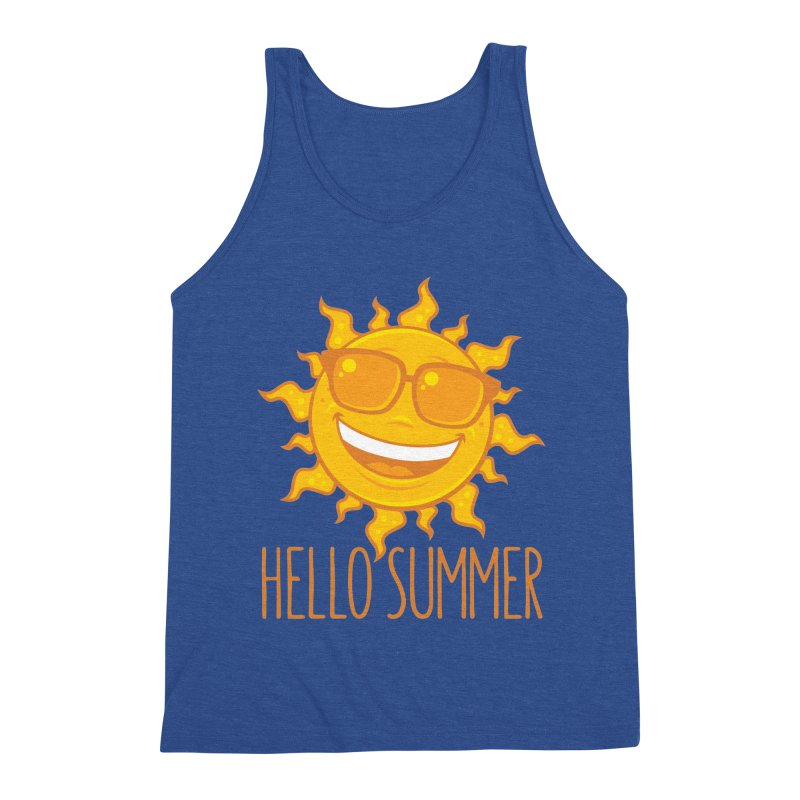 Hello Summer Sun With Sunglasses Men's Triblend Tank by Fizzgig's Artist Shop