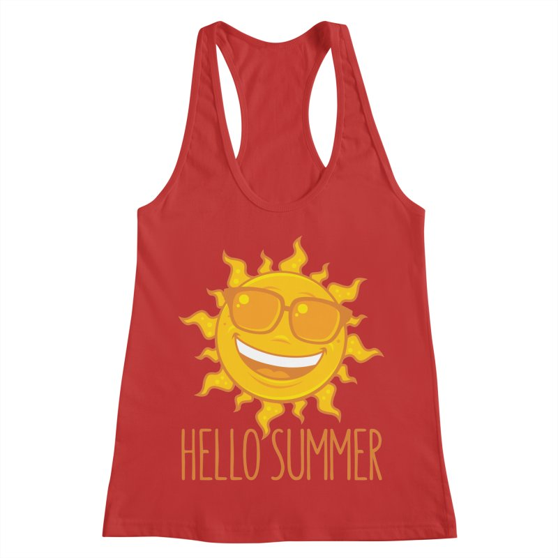 Hello Summer Sun With Sunglasses Women's Racerback Tank by Fizzgig's Artist Shop