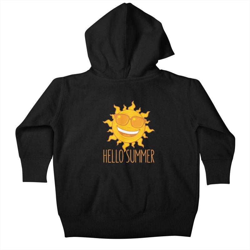 Hello Summer Sun With Sunglasses Kids Baby Zip-Up Hoody by Fizzgig's Artist Shop