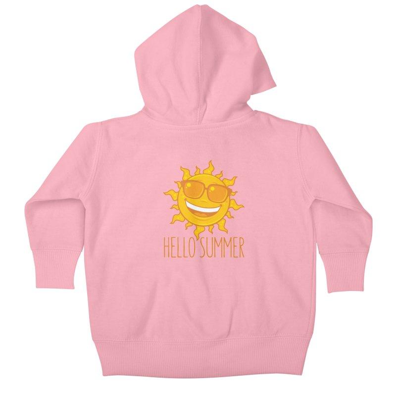 Hello Summer Sun With Sunglasses Kids Baby Zip-Up Hoody by Fizzgig's Artist Shop