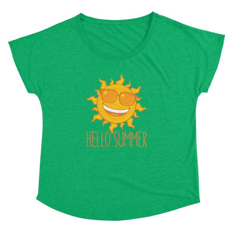Hello Summer Sun With Sunglasses Women's Dolman Scoop Neck by Fizzgig's Artist Shop