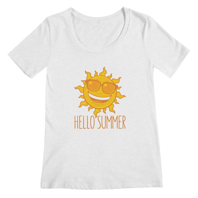 Hello Summer Sun With Sunglasses Women's Regular Scoop Neck by Fizzgig's Artist Shop
