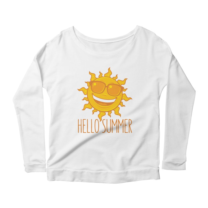 Hello Summer Sun With Sunglasses Women's Scoop Neck Longsleeve T-Shirt by Fizzgig's Artist Shop