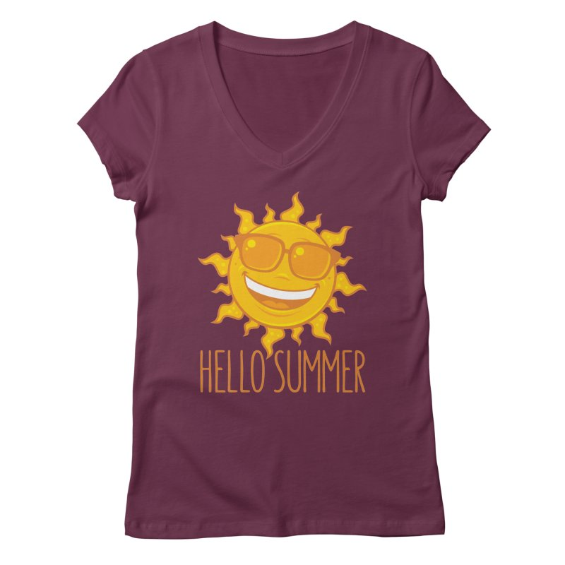 Hello Summer Sun With Sunglasses Women's Regular V-Neck by Fizzgig's Artist Shop