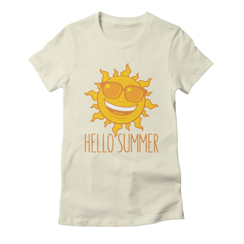Hello Summer Sun With Sunglasses Women's Fitted T-Shirt by Fizzgig's Artist Shop