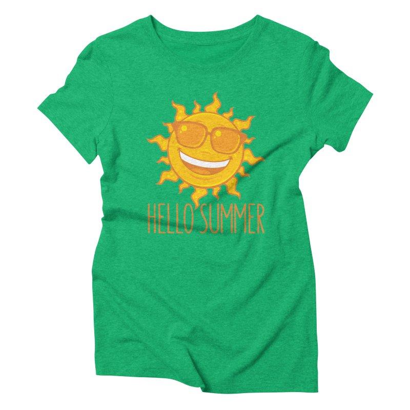 Hello Summer Sun With Sunglasses Women's Triblend T-Shirt by Fizzgig's Artist Shop