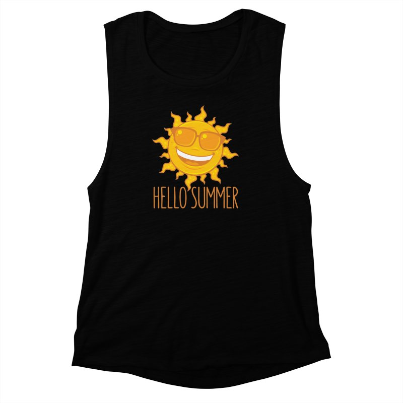 Hello Summer Sun With Sunglasses Women's Muscle Tank by Fizzgig's Artist Shop