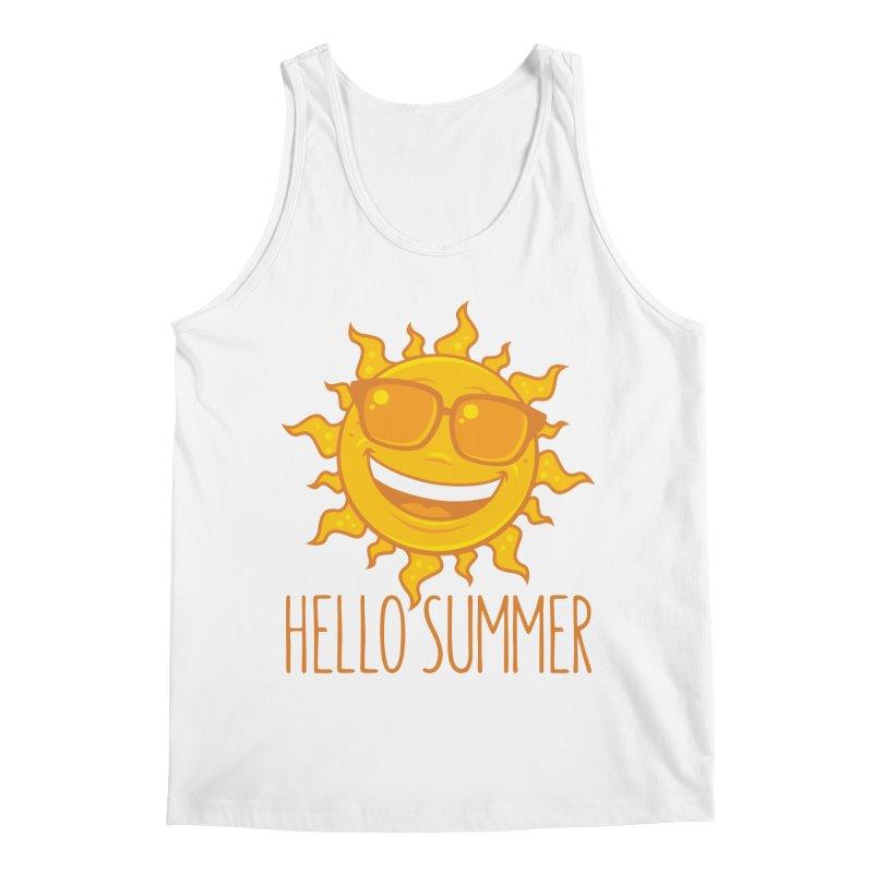 Hello Summer Sun With Sunglasses Men's Regular Tank by Fizzgig's Artist Shop