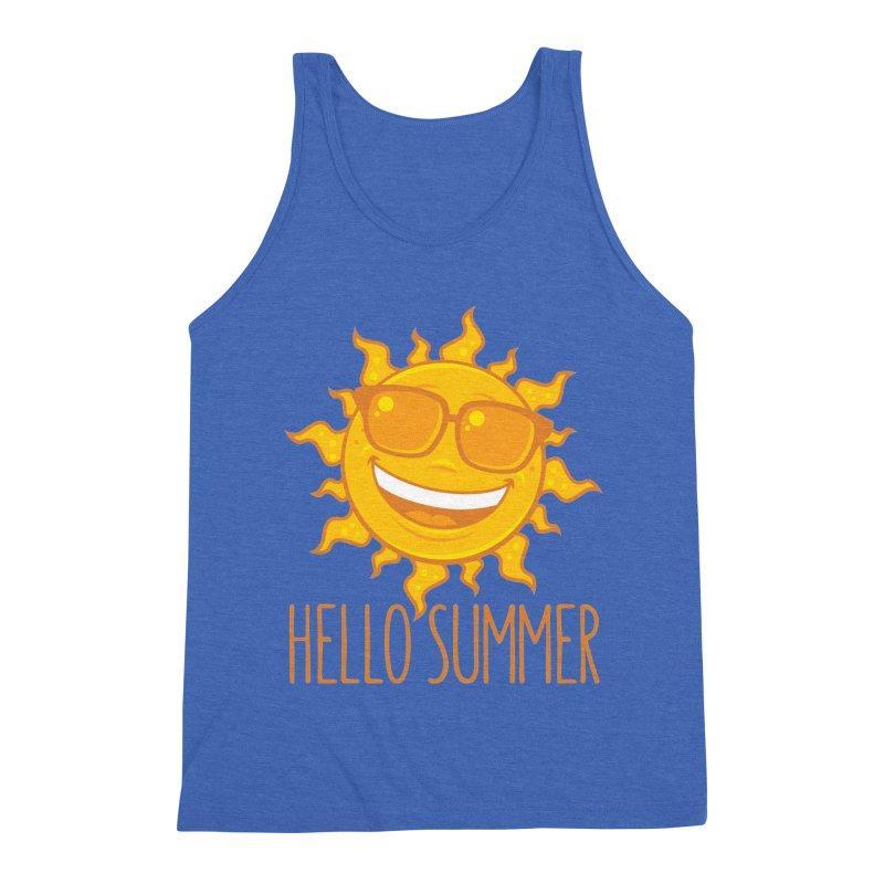 Hello Summer Sun With Sunglasses Men's Triblend Tank by Fizzgig's Artist Shop