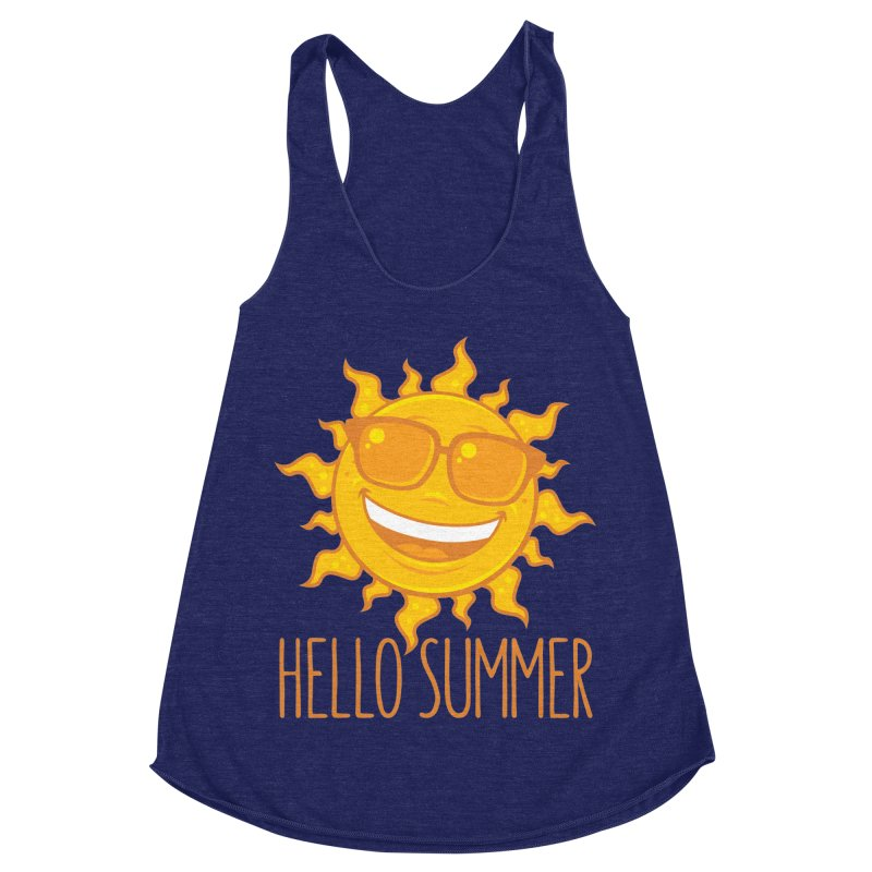 Hello Summer Sun With Sunglasses Women's Racerback Triblend Tank by Fizzgig's Artist Shop