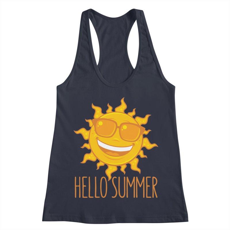 Hello Summer Sun With Sunglasses Women's Racerback Tank by Fizzgig's Artist Shop