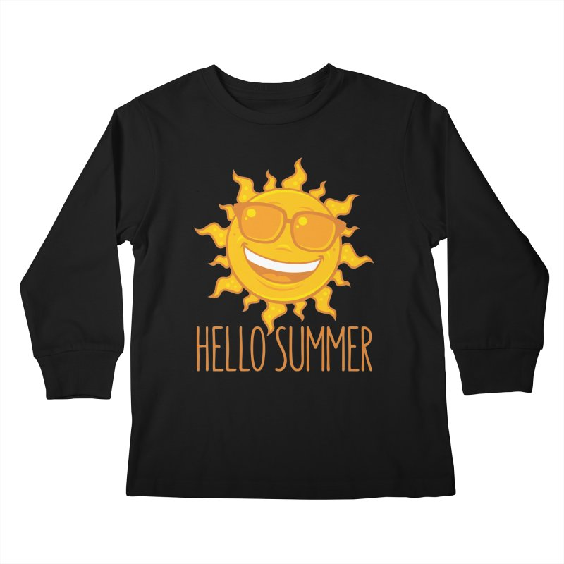 Hello Summer Sun With Sunglasses Kids Longsleeve T-Shirt by Fizzgig's Artist Shop