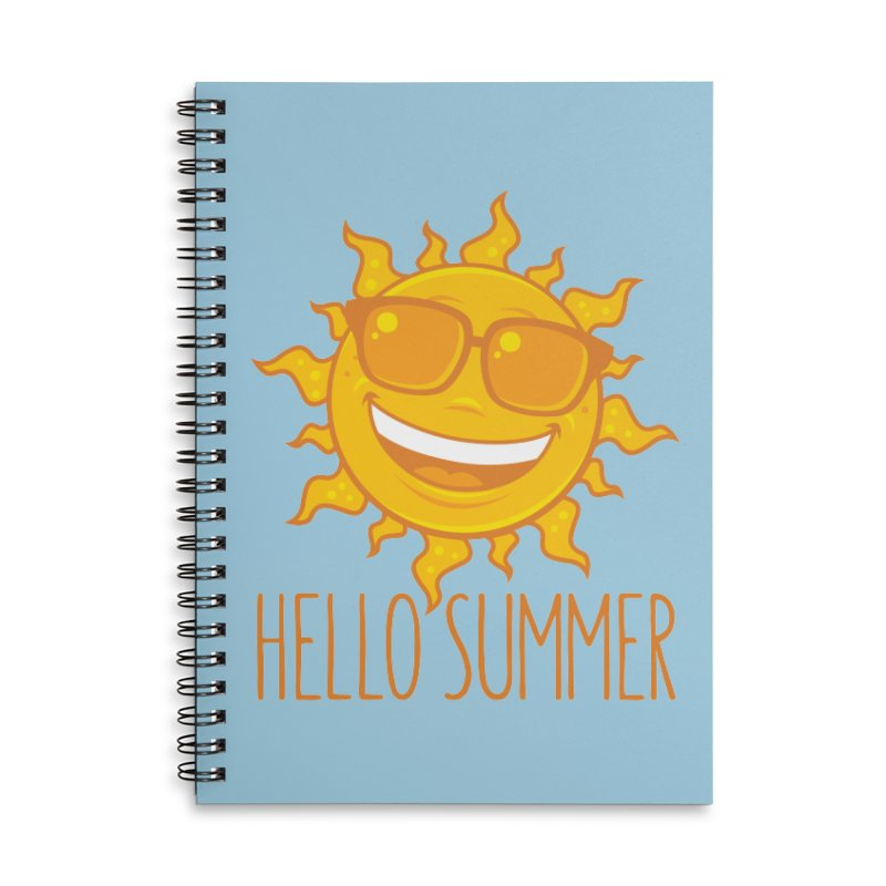 Hello Summer Sun With Sunglasses Accessories Lined Spiral Notebook by Fizzgig's Artist Shop