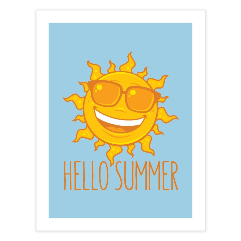 Hello Summer Sun With Sunglasses Home Fine Art Print by Fizzgig's Artist Shop