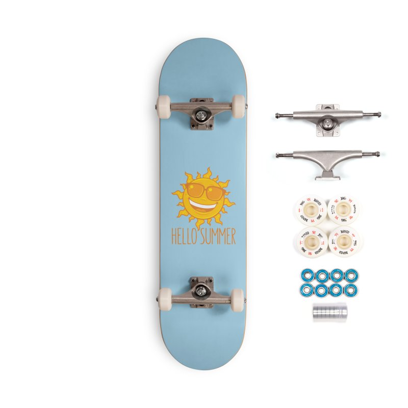 Hello Summer Sun With Sunglasses Accessories Complete - Premium Skateboard by Fizzgig's Artist Shop