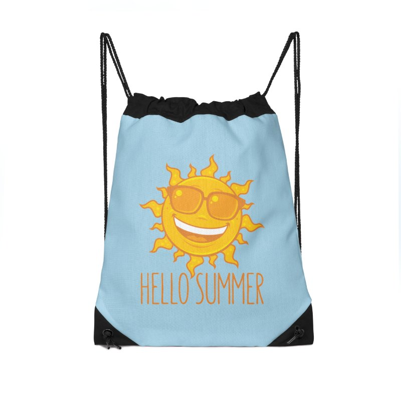 Hello Summer Sun With Sunglasses Accessories Drawstring Bag Bag by Fizzgig's Artist Shop