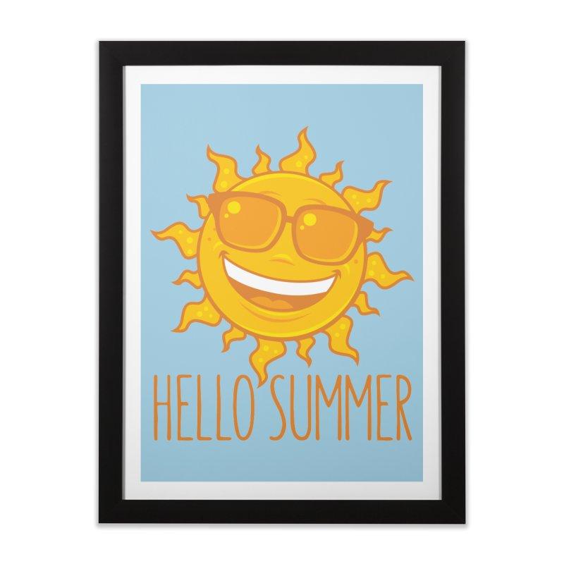 Hello Summer Sun With Sunglasses Home Framed Fine Art Print by Fizzgig's Artist Shop