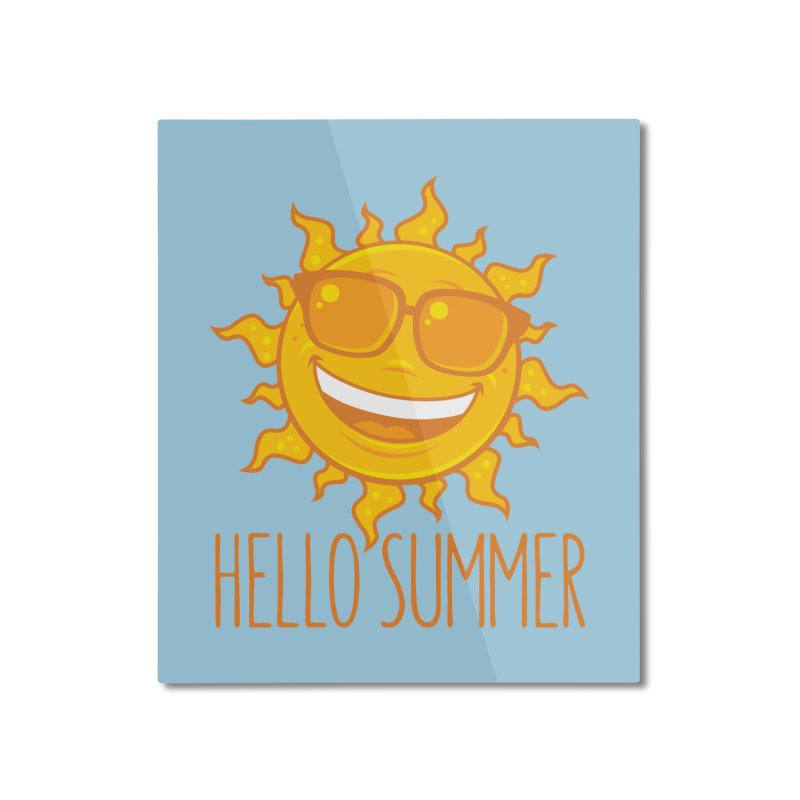 Hello Summer Sun With Sunglasses Home Mounted Aluminum Print by Fizzgig's Artist Shop