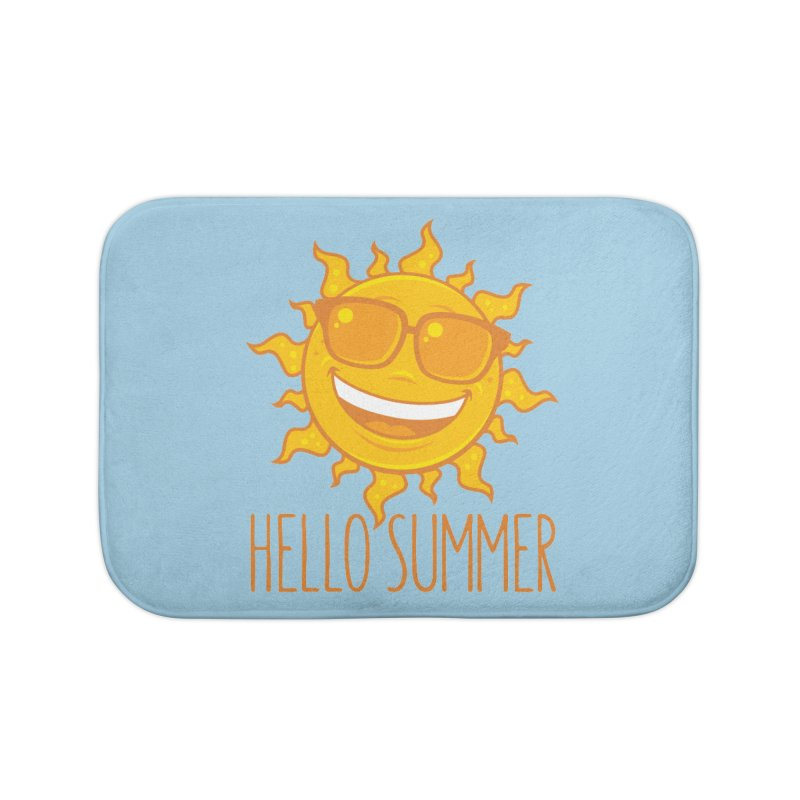 Hello Summer Sun With Sunglasses Home Bath Mat by Fizzgig's Artist Shop