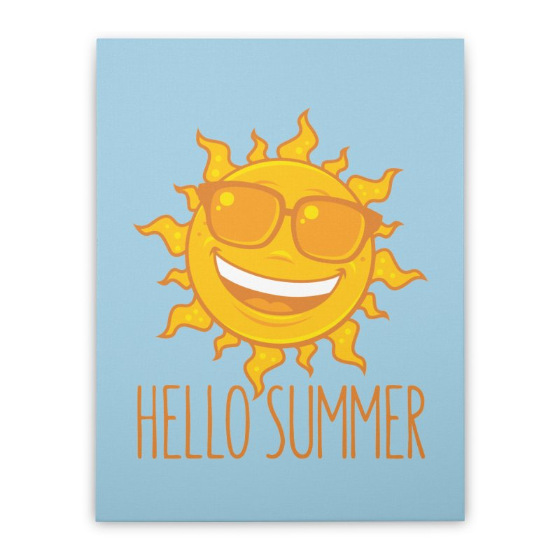 Hello Summer Sun With Sunglasses Home Stretched Canvas by Fizzgig's Artist Shop