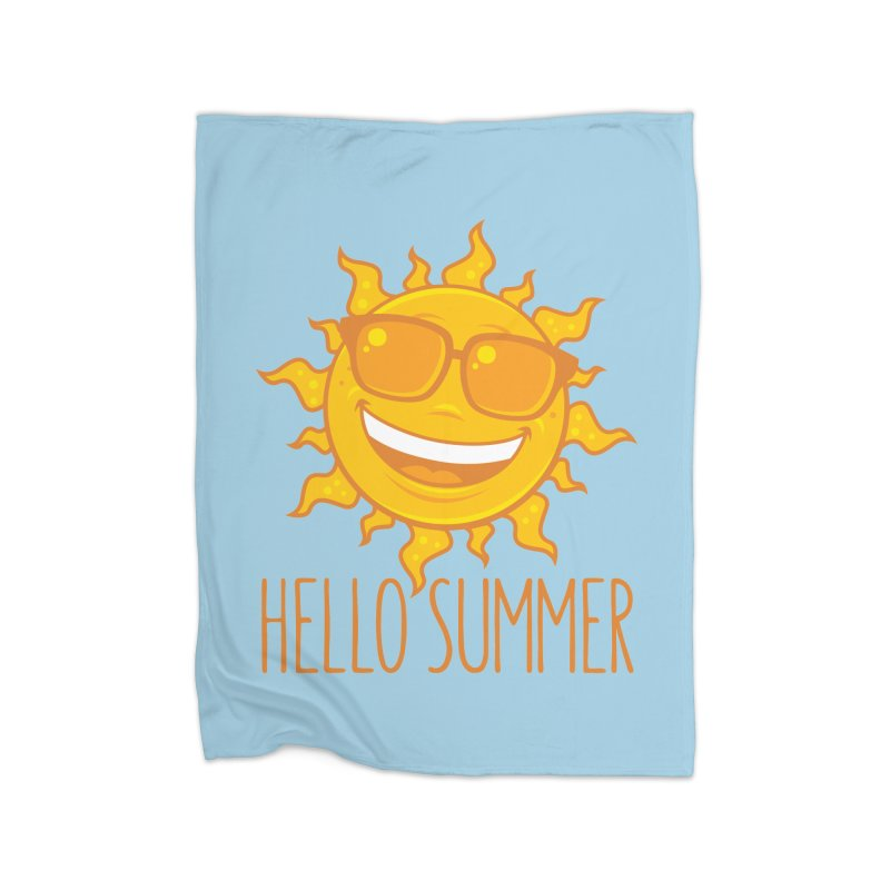 Hello Summer Sun With Sunglasses Home Fleece Blanket Blanket by Fizzgig's Artist Shop