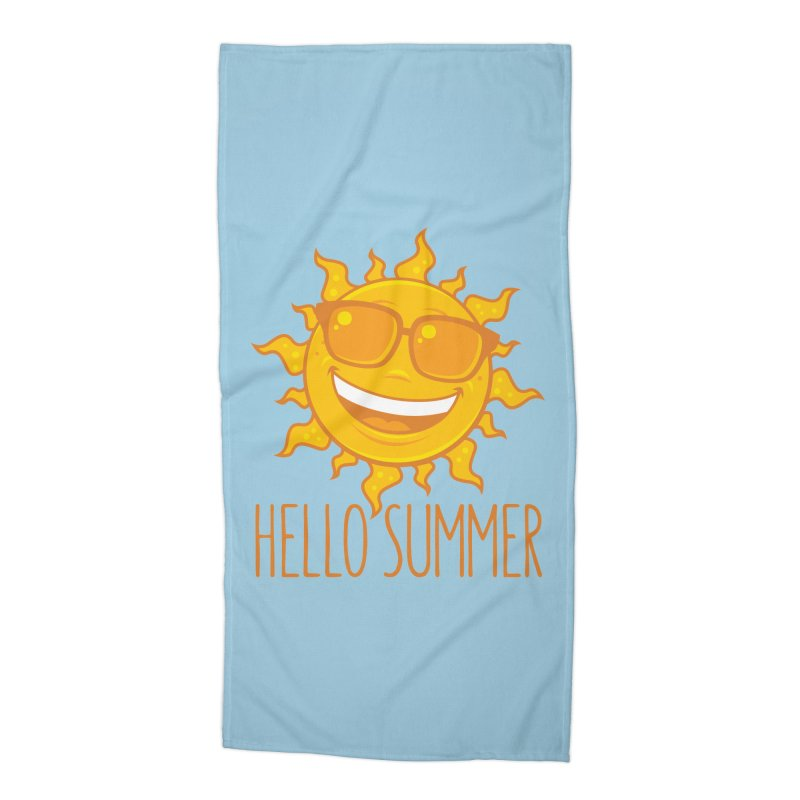 Hello Summer Sun With Sunglasses Accessories Beach Towel by Fizzgig's Artist Shop