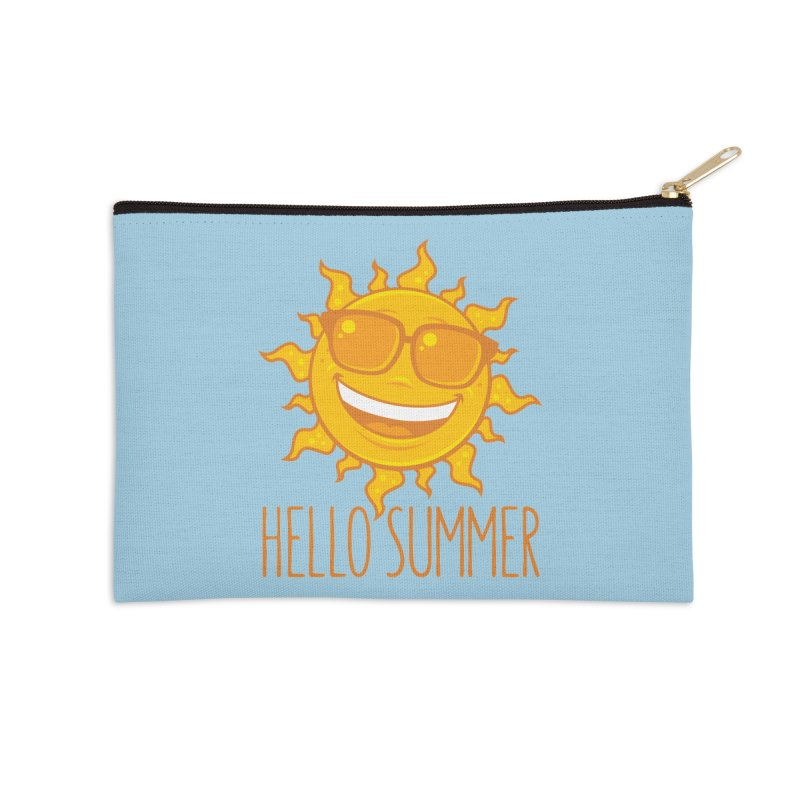 Hello Summer Sun With Sunglasses Accessories Zip Pouch by Fizzgig's Artist Shop