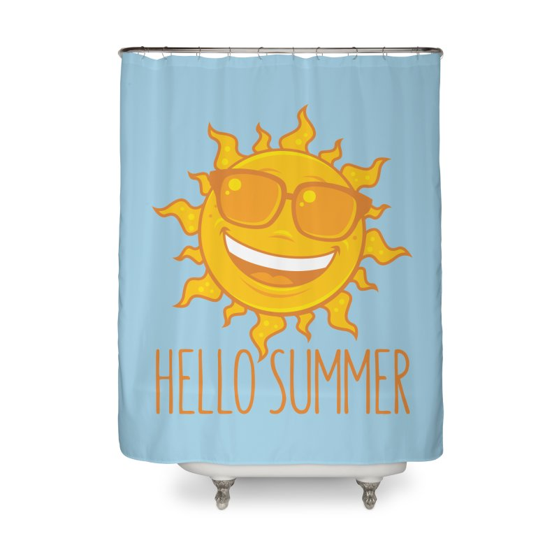 Hello Summer Sun With Sunglasses Home Shower Curtain by Fizzgig's Artist Shop