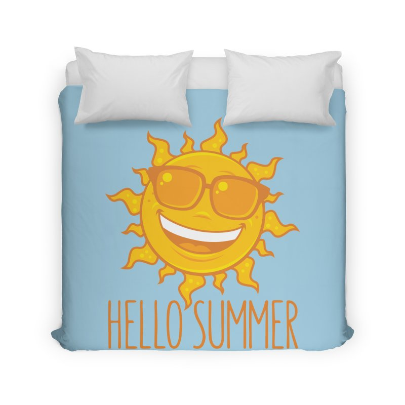 Hello Summer Sun With Sunglasses Home Duvet by Fizzgig's Artist Shop