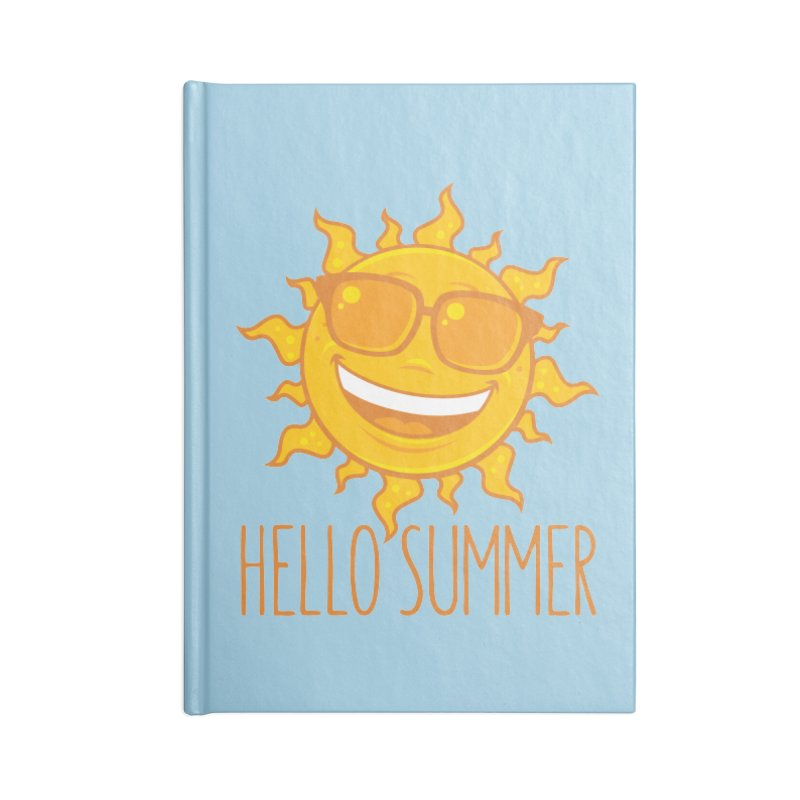 Hello Summer Sun With Sunglasses Accessories Lined Journal Notebook by Fizzgig's Artist Shop