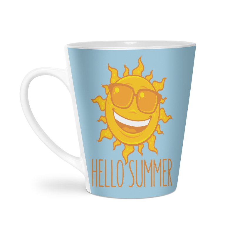 Hello Summer Sun With Sunglasses Accessories Latte Mug by Fizzgig's Artist Shop