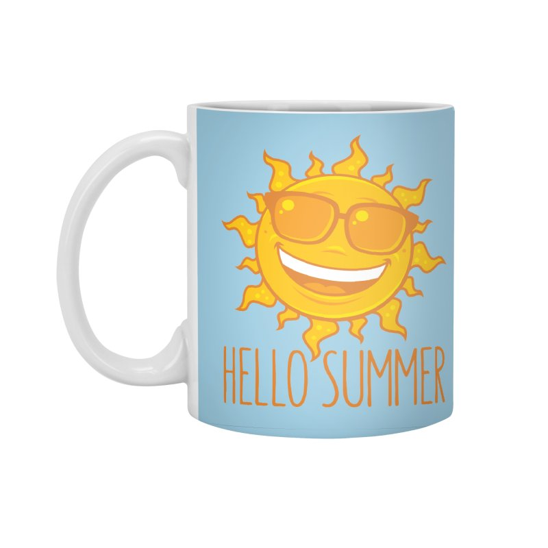 Hello Summer Sun With Sunglasses Accessories Standard Mug by Fizzgig's Artist Shop