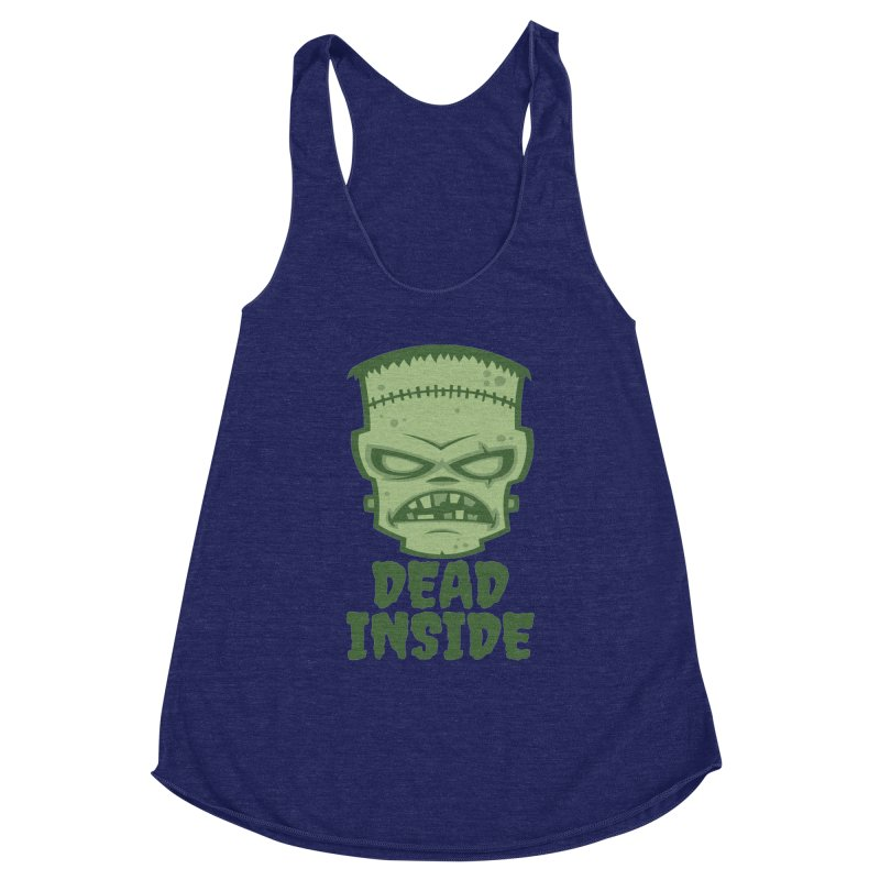 Dead Inside Frankenstein Monster Women's Racerback Triblend Tank by Fizzgig's Artist Shop