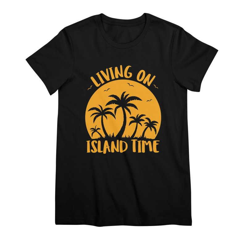 Living On Island Time Palm Trees And Sunset Women's Premium T-Shirt by Fizzgig's Artist Shop