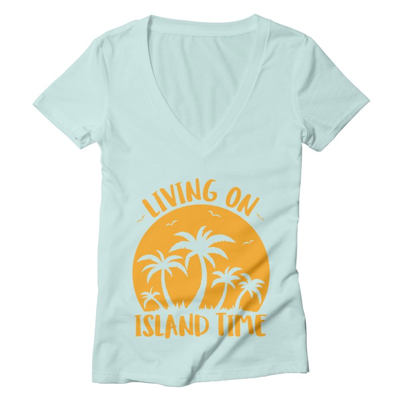 Living On Island Time Palm Trees And Sunset Women's Deep V-Neck V-Neck by Fizzgig's Artist Shop