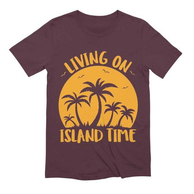 Living On Island Time Palm Trees And Sunset Men's Extra Soft T-Shirt by Fizzgig's Artist Shop