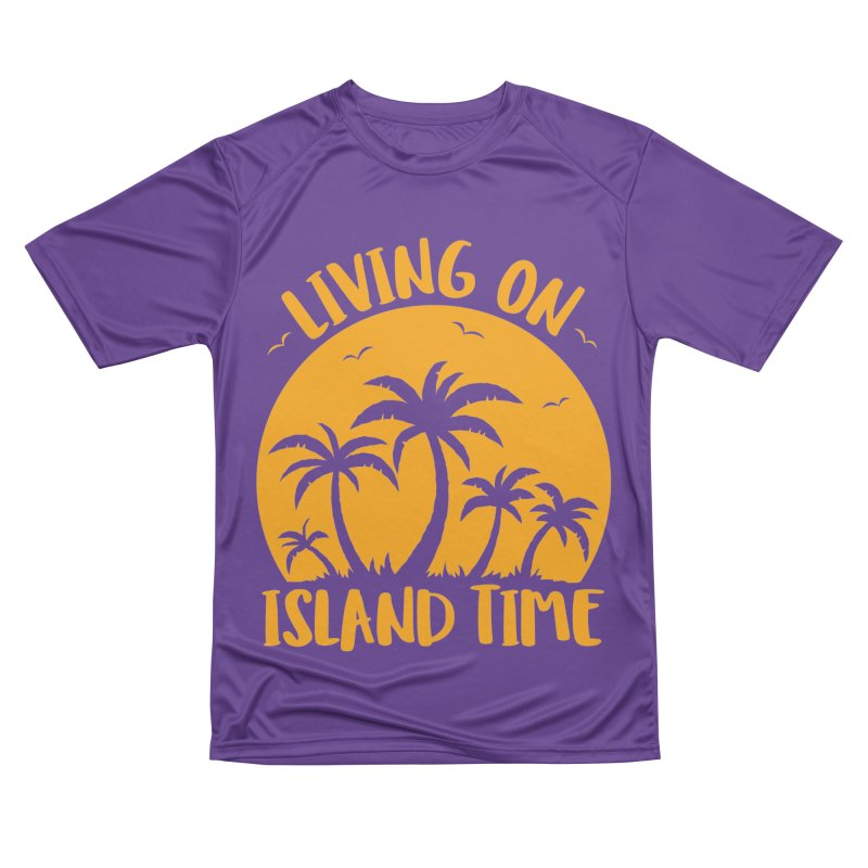 Living On Island Time Palm Trees And Sunset Women's Performance Unisex T-Shirt by Fizzgig's Artist Shop