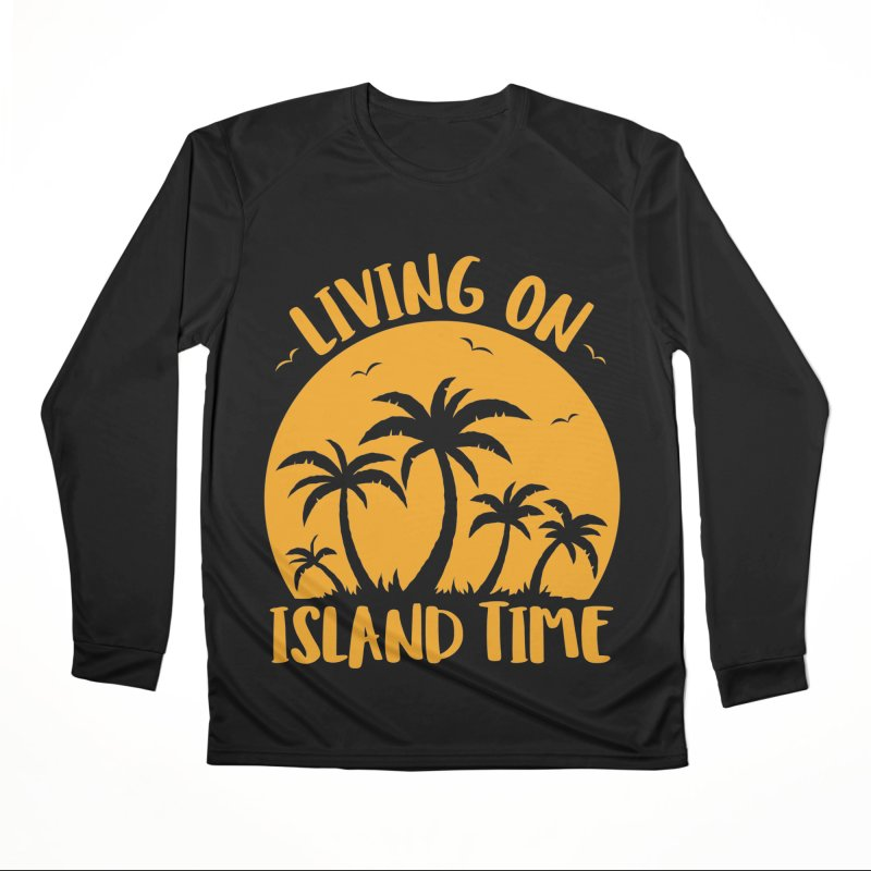 Living On Island Time Palm Trees And Sunset Men's Performance Longsleeve T-Shirt by Fizzgig's Artist Shop