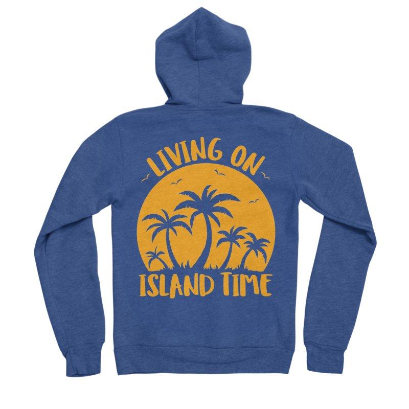 Living On Island Time Palm Trees And Sunset Women's Sponge Fleece Zip-Up Hoody by Fizzgig's Artist Shop