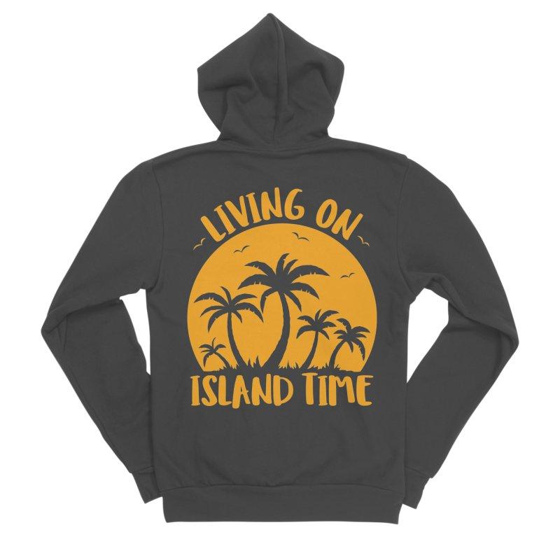 Living On Island Time Palm Trees And Sunset Men's Sponge Fleece Zip-Up Hoody by Fizzgig's Artist Shop