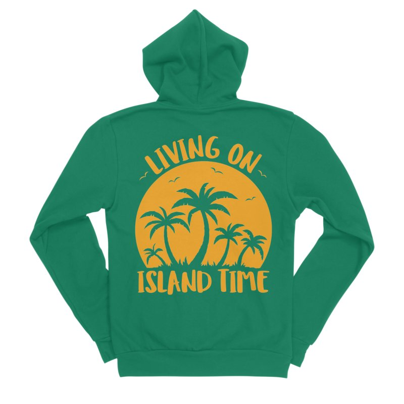 Living On Island Time Palm Trees And Sunset Men's Sponge Fleece Zip-Up Hoody by Fizzgig's Artist Shop