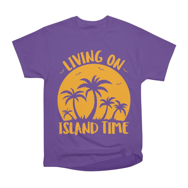 Living On Island Time Palm Trees And Sunset Women's Heavyweight Unisex T-Shirt by Fizzgig's Artist Shop
