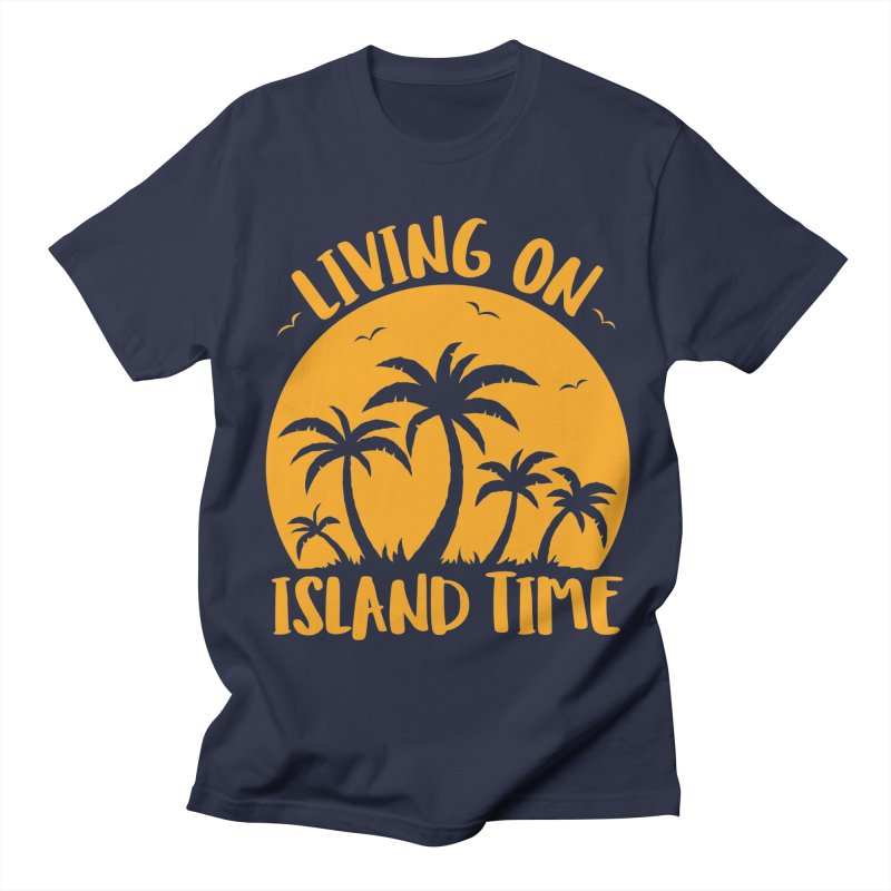 Living On Island Time Palm Trees And Sunset Men's Regular T-Shirt by Fizzgig's Artist Shop