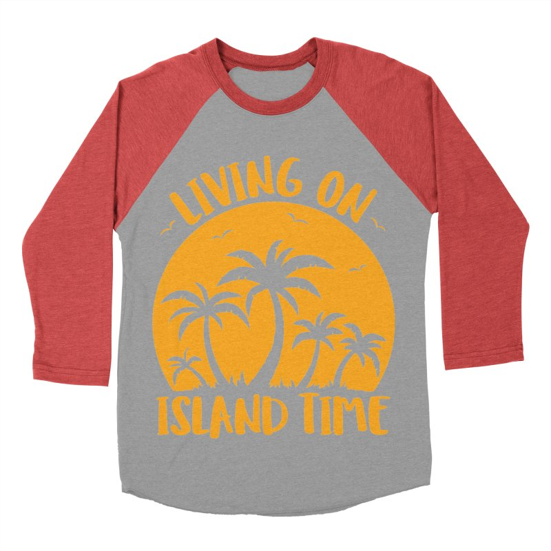 Living On Island Time Palm Trees And Sunset Women's Baseball Triblend Longsleeve T-Shirt by Fizzgig's Artist Shop