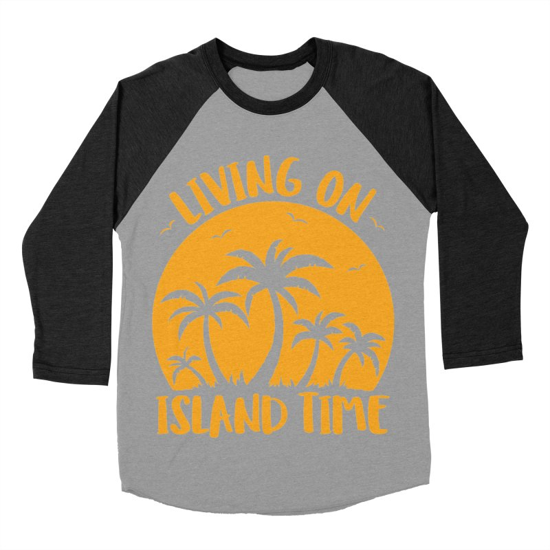 Living On Island Time Palm Trees And Sunset Men's Baseball Triblend Longsleeve T-Shirt by Fizzgig's Artist Shop