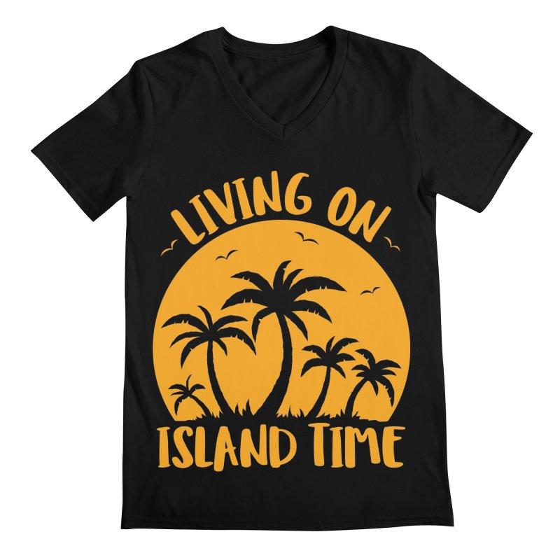 Living On Island Time Palm Trees And Sunset Men's Regular V-Neck by Fizzgig's Artist Shop